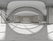 Spherical 360 panorama projection Interior of reception 3D illustration